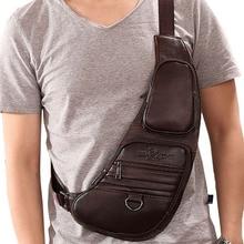 цена на 2017 High Quality Cowhide Genuine Leather Men Messenger Shoulder Sling Bag Travel Rucksack Vintage Retro Fashion Chest Day Pack