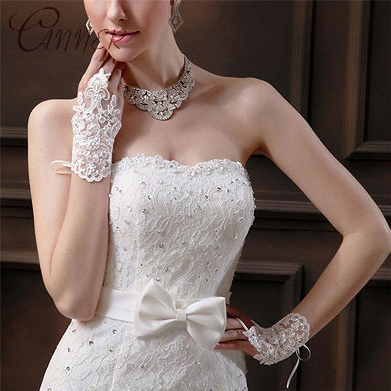 CANNER 2019 Wedding Accessories Cheap Wedding Dress Gloves Fingerless Bridal Gloves For Women Bride Lace Gloves Luva De Noiva