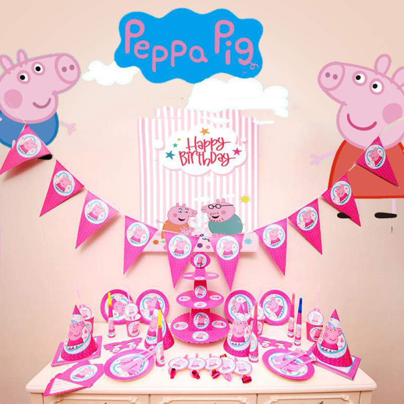 9/16pcs Peppa Pig Birthday Party Sets Party Decoration Supplies Holiday Cup Plate Spoon Cake Stand Activity Event Kids Gifts2P27