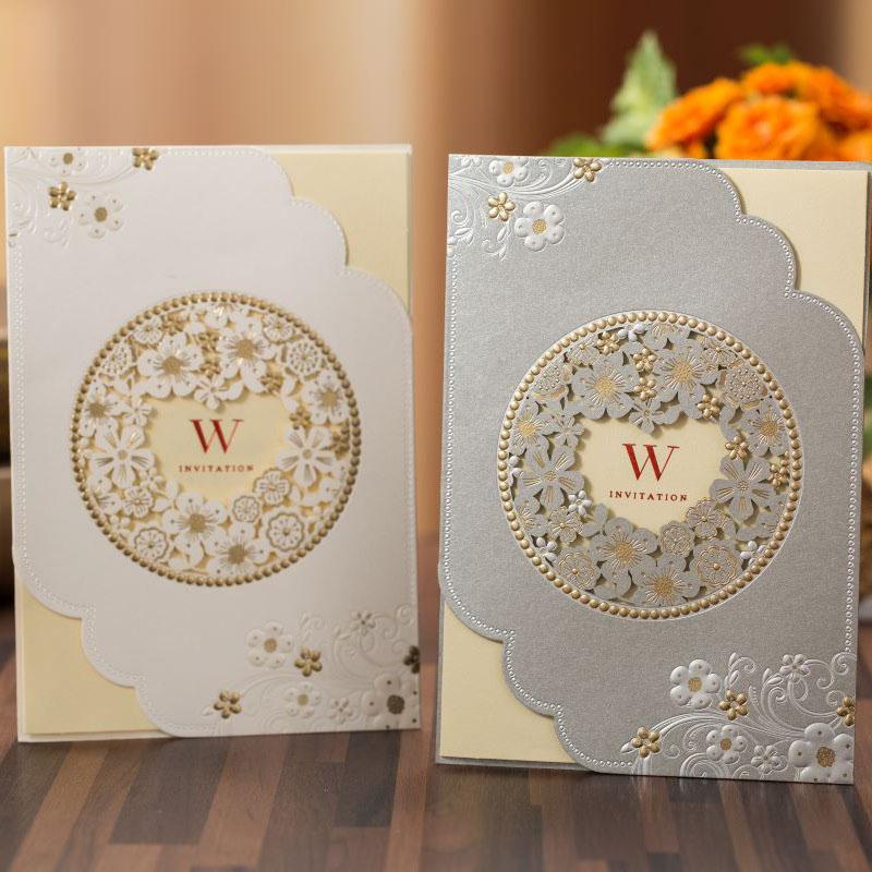 100pcs White Grey Laser Cut Wedding Invitations Card Flower