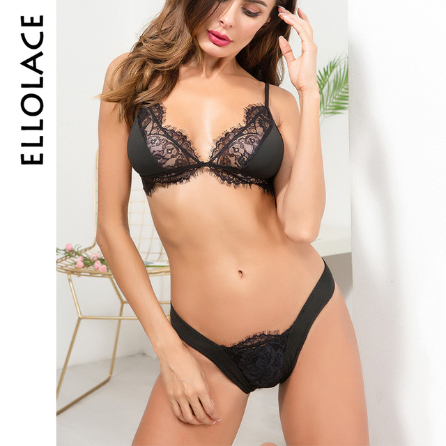 30ed13a16023c Ellolace Hot Sexy Eyelashes Lace Lingerie Set Bralette Underwear Women  Wireless Adjustable Transparent Hollow Bra and Panty Set