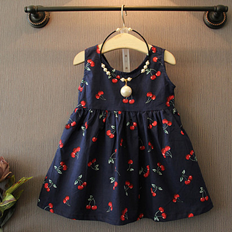2018 Summer Toddler Girls Dress Casual Clothing Cherry Print Princess Baby Dress Cotton Backless