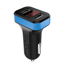 Hot Sale Dual USB Port Car Charger 2.1A Adaptor With Digital Voltmeter Gauge Display For Cigarette Lighter 12V to 5V