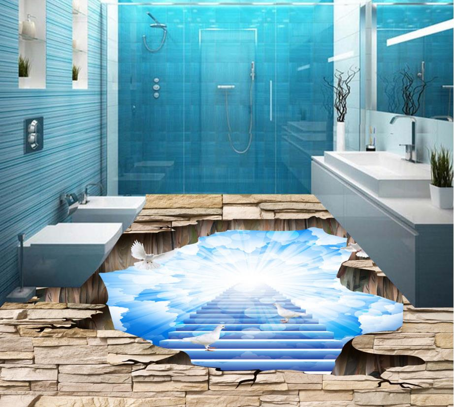 3d Floor Wallpaper Custom Pvc Vinyl Floor Tile Blue Trees