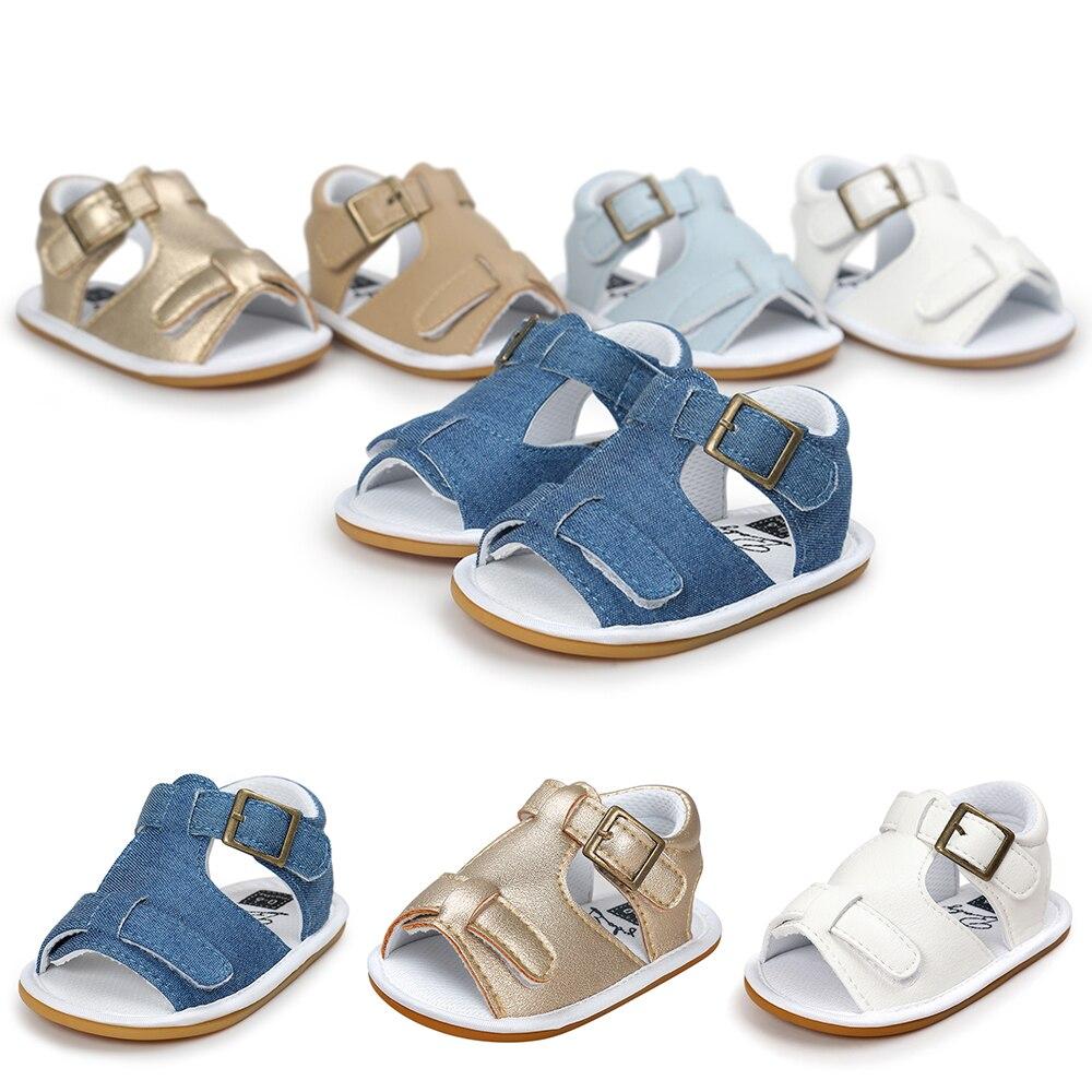 2019 Summer Sandals Kids Baby Boy Leather Metallic Denim Anti-slip Pram Crib Shoes Garden Modern Breathable Updated Fashion D35