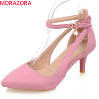 MORAZORA spring summer sexy ladies shoes high heels pointed toe thin heel with buckle flock casual dress women pumps