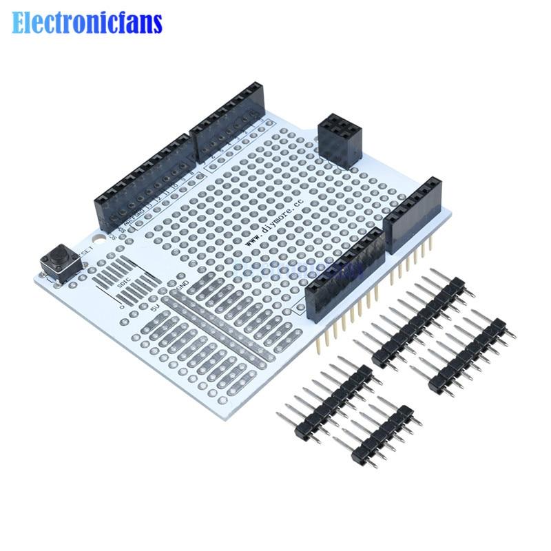 Prototype carte de blindage dexpansion de carte PCB développement de platine de prototypage panneau de pain Module de protobouclier pour Arduino UNO R3 un kit de bricolage plus récent