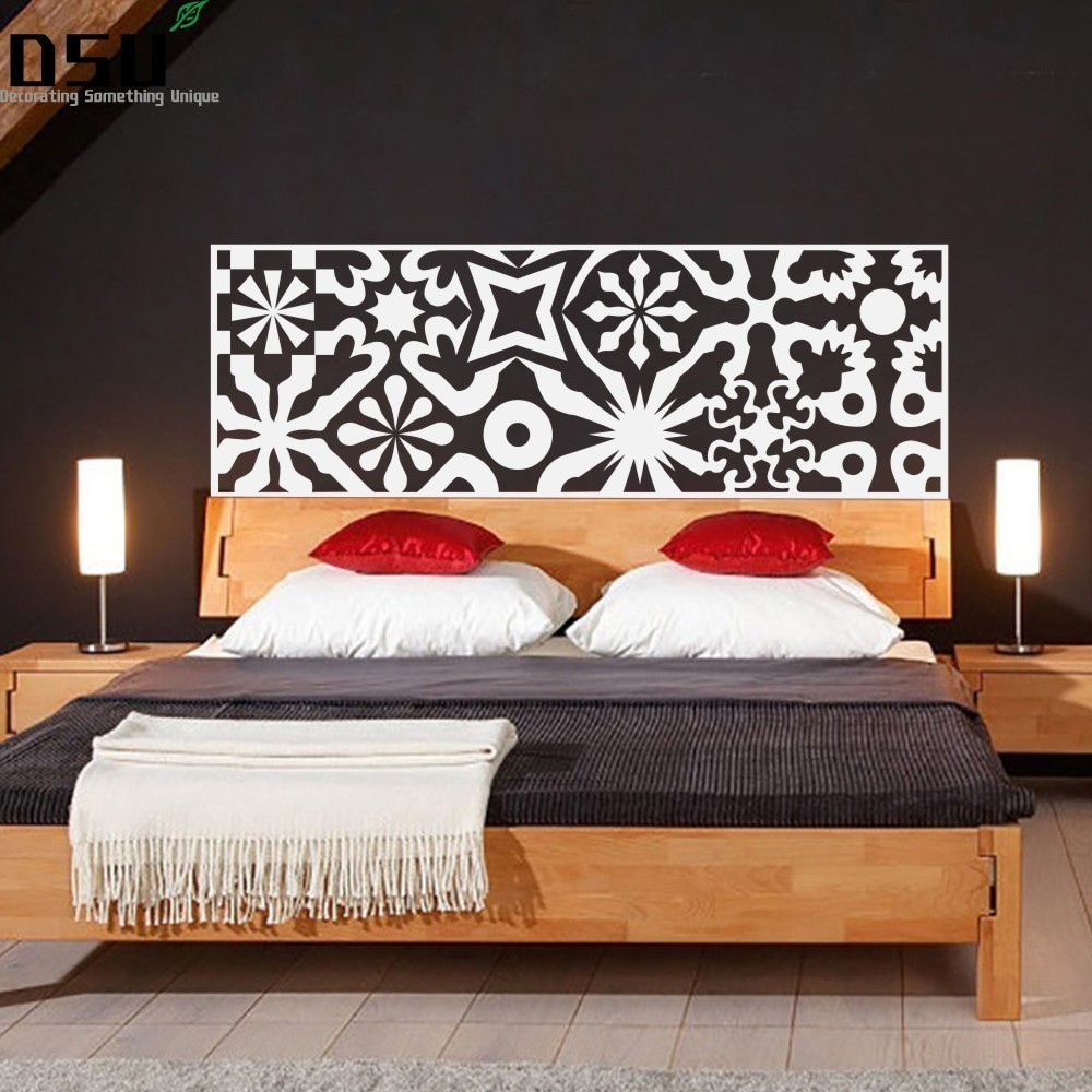 Chinoiserie Bed Headboard Quilted Wall Decal Vinyl Art Wall Sticker Bed Wallpaper Beautifl Art Minimalist Bedroom Home Decor