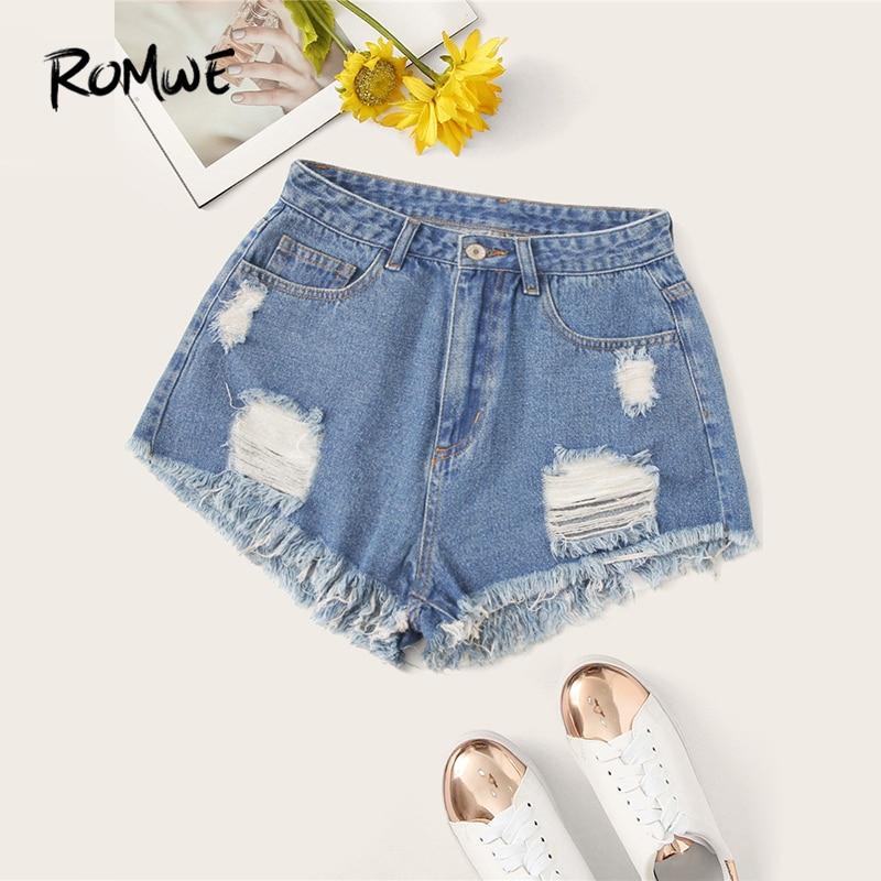 ROMWE Ripped Detail Frayed Edge Denim Shorts Blue Solid Button Zipper Fly Women Shorts 2019 Swish Summer Mid Waist Shorts