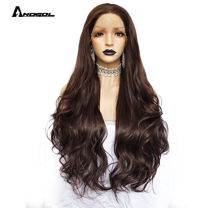Anogol 2# Dark Brown Natural Wave Straight Wigs For Women Heat Resistant High Temperature Fiber Synthetic Lace Front Wig 30