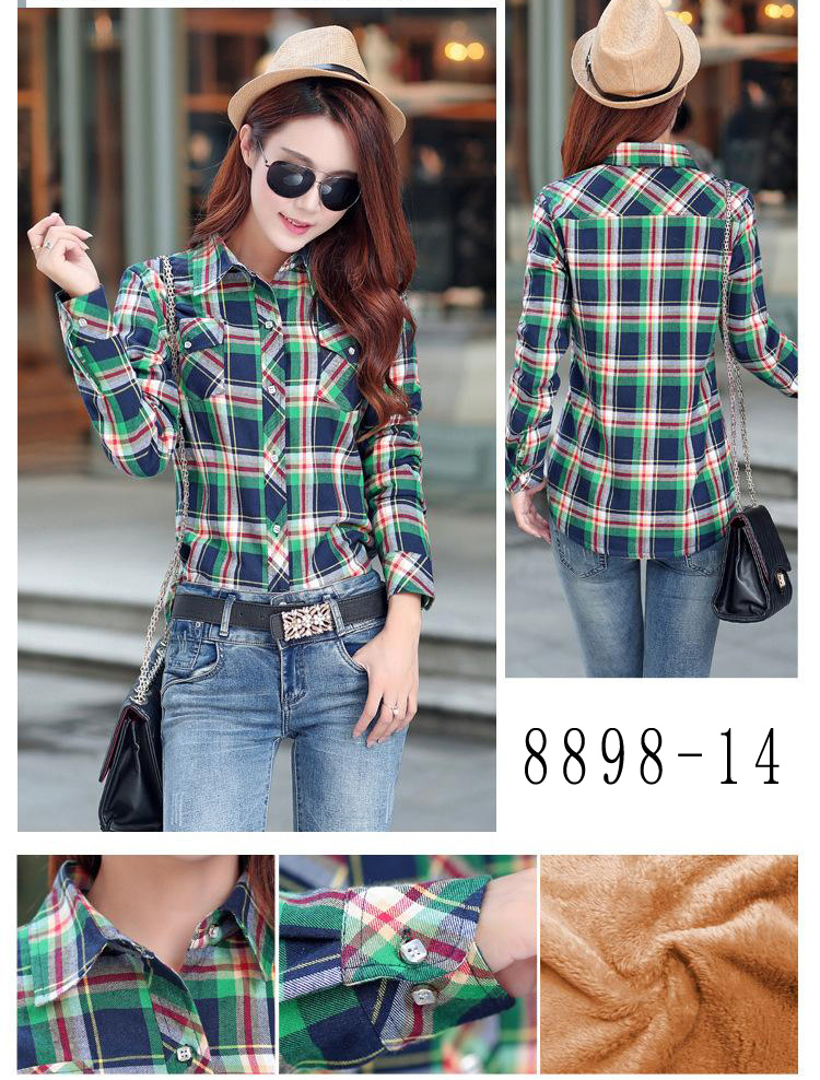 HTB11 8rRVXXXXbOXVXXq6xXFXXXr - Velvet Thick Warm Women's Plaid Shirt Female Long Sleeve