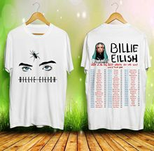 New Billie Eilish When We All Fall Asleep Tour 2019 White T-Shirt Size S-3XL Mens 100% Cotton Short Sleeve Print T Shirt
