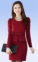 Spring New Large Size Ladies Fashion Career Women Fat MM Slim Thin Package Hip OL Temperament Long Sleeve Dress bl117