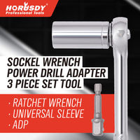 HORUSDY 3pc Universal Torque Wrench Socket Sleeve Ratchet Wrench Set Power Drill Adapter Spanner Key Magic Grip Multi Hand Tools