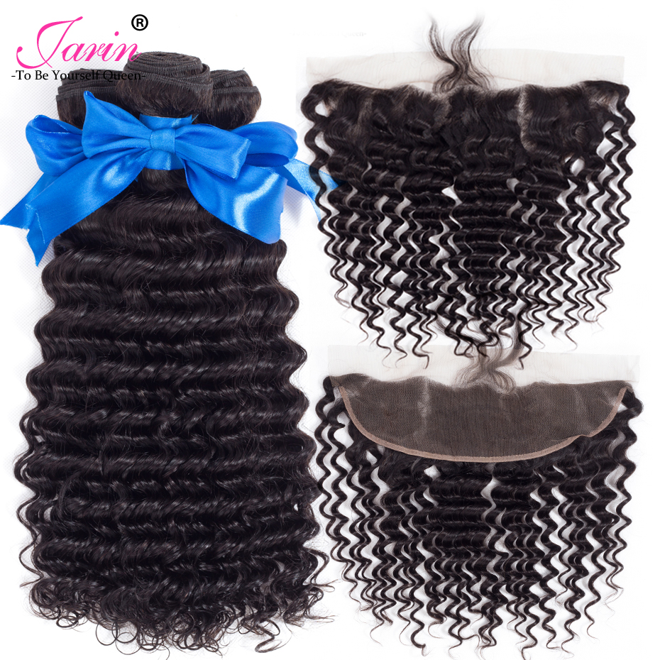 Jarin Brazilian Deep Wave Hair 3 Bundles With Frontal 13x4 Free Part Bundle With Closure Ear