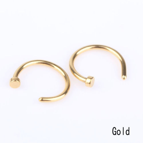 HTB11_9EKVXXXXamapXXq6xXFXXXY Unisex Body Piercing Jewelry 2-Pieces Stainless Steel Nose Hoop Rings - 5 Styles