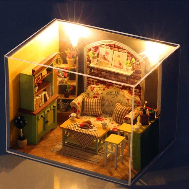 US $26.99 |3D Mobili Casa di Bambola Fatta A Mano Miniatura Soggiorno Fai  da te In Miniatura Dollhouse Giocattoli In Legno Per Bambini Bambini  Ragazza ...