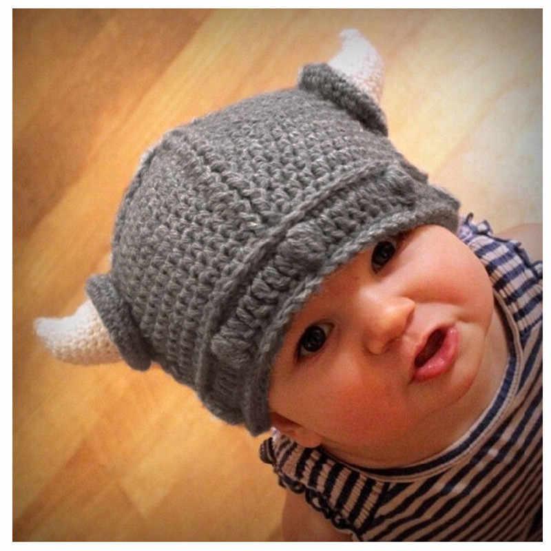 2016 детские вязаные зимние шапки ручной работы детские рога викингов шапка
