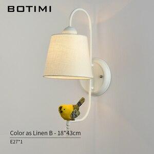Image 5 - Тканевый абажур BOTIMI, настенный светильник с птичьим современным тканевым абажуром, настенный прикроватный светильник, железное настенное бра, светильник для комнаты s