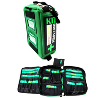 BearHoHo Empty First Aid Bag 3 Layers Oxford Waterproof Green With 23 Pockets Labeled Mini CPR