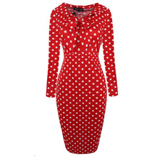 Women Autumn Winter Long Sleeve Front Bow Red Polka Dot Stretch Bodycon  Casual Party Cute Prepply Style Work Formal Dress 350050 779875a6caf1