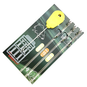 1pack Carp Fishing Hair rigs set carp Terminal Tackle Kit Ready Made Rigs with Free bait needle Boilie Stoppers spinner swivel(China)