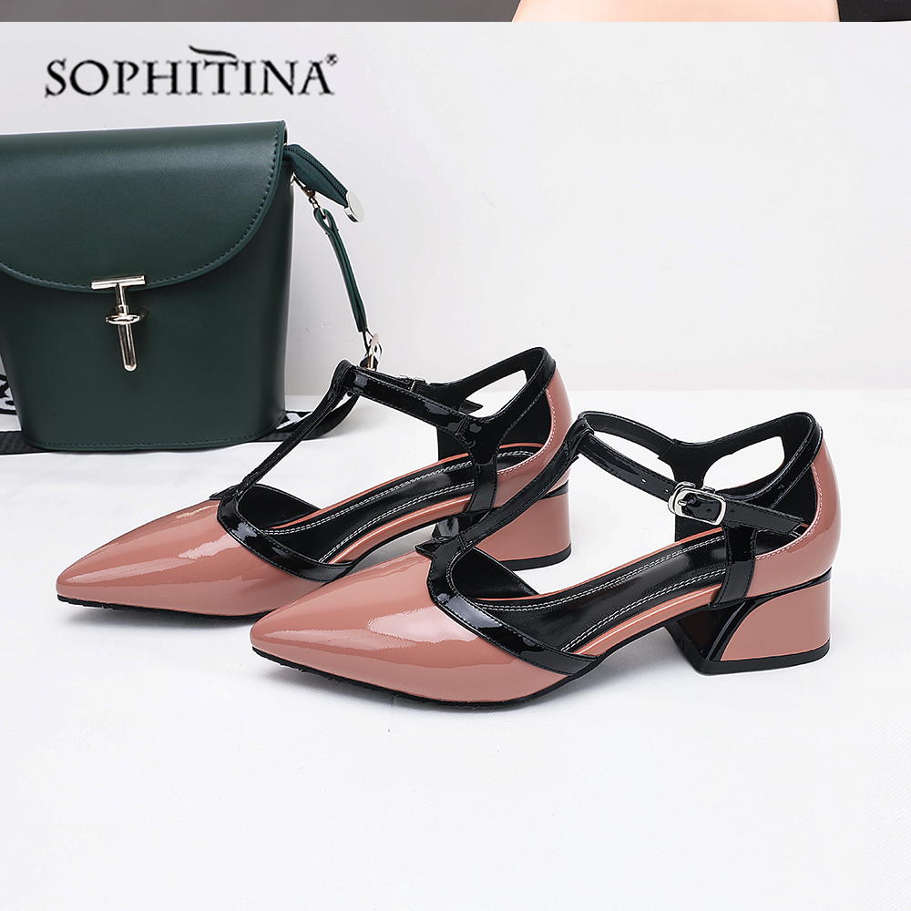 SOPHITINA المرأة الصنادل المريحة كعب مربع عالية الجودة جلد البقر أزياء مشبك الأحذية انفجار حار بيع الصنادل MO80-في أحذية نسائية من أحذية على  مجموعة 1