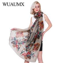 Wuaumx Ethnic Style Flowers Scarf Women Cotton Linen Shawls Wraps Floral Soft Satin Bandana Basic Scarves Female 180*90cm