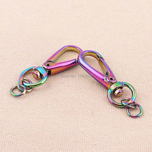 6pcs/lot shinny rainbow colorful vacuum plating snap hook Lobster buckle for bag decoration accessories