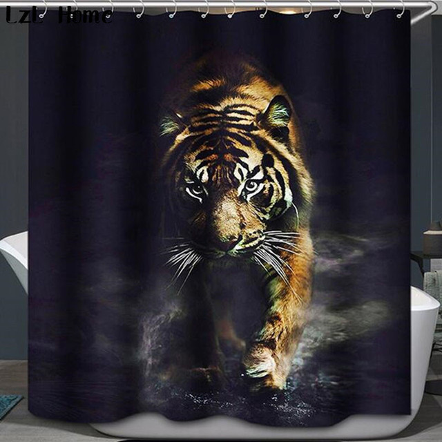 Elephant Tiger Shower Curtain Waterproof Lion Bathroom Polyester 3d Cortina Ducha With Hooks Curtains For Bath Room