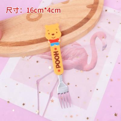 10 шт мультфильм Doraemon Губка Боб Ложка Вилка лучший подарок для детей - Цвет: bear fork
