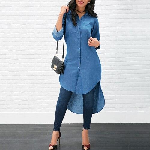 New Women Casual Long Denim Blouse Long Sleeve Fashion Shirt Loose Tops Long Maxi Dress Summer Clothing
