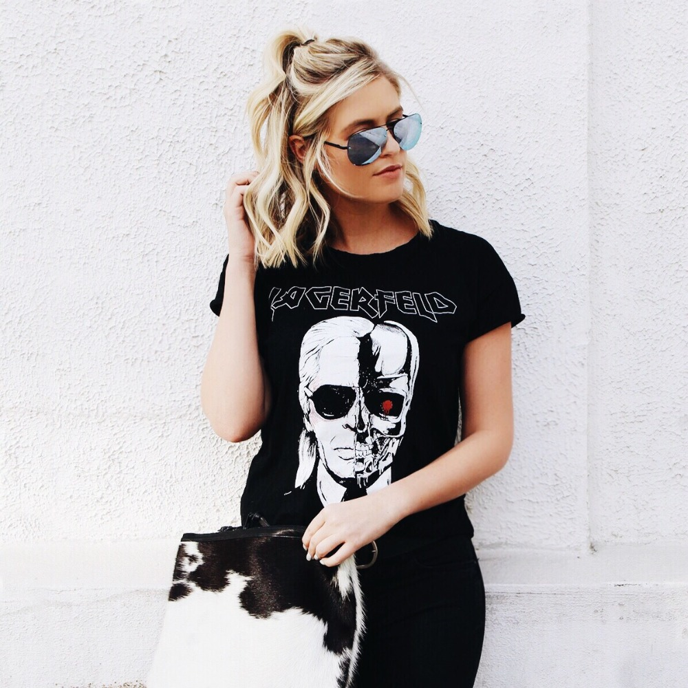 Shirts women's Tops Brand 2016 Fashion New Skeleton Head Printed Tee In Black Zombie Skull Punk Rock Cotton Shirts Women