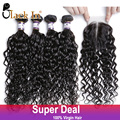 Indian Virgin Hair With Closure 4 Bundles Raw Indian Curly Hair Bundle Deals With Lace Closure Human Hair With Closure Black In
