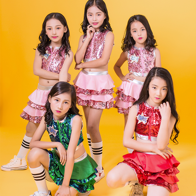 Hip Hop Dance Costumes Kids Sequined Sleeveless Top Skirts Stage Outfit Girls Cheerleading Child Street Dancing Clothes DNV10137-in Ballroom from Novelty & Special Use    1
