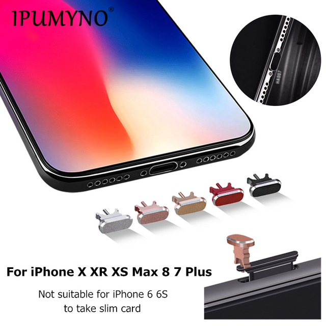 new product 80294 f5a89 US $2.01 25% OFF|5pcs Metal Dust plug Charging Port Dust Plug For iPhone X  XR XS Max 8 7 Plus Mini Dust Plug Phone charger Accessories 5 colors-in ...