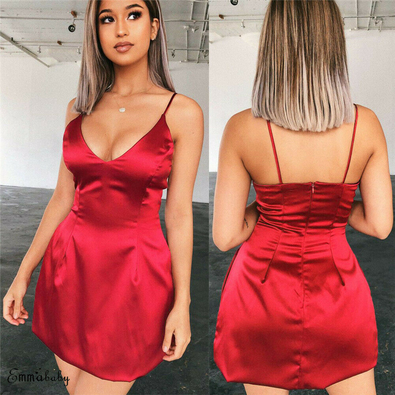 Women Solid Silk Satin Bandage Dress Bodycon Summer Sexy Straps Slim Fit Dresses Lady Sexy Club Party Mini Dress Shien Vestidos in Dresses from Women 39 s Clothing