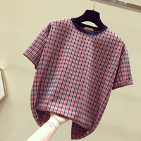 Unicorn Special Offer Regular Korean Tshirt Women Cotton Casual Velour Sleeve Plaid O neck New Style 2019