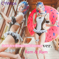 Re:Life in a different world from zero Rem Ram Swimsuits Women Summer Swimwear Bikini Cosplay Costume Lady Sukumizu Swimsuits