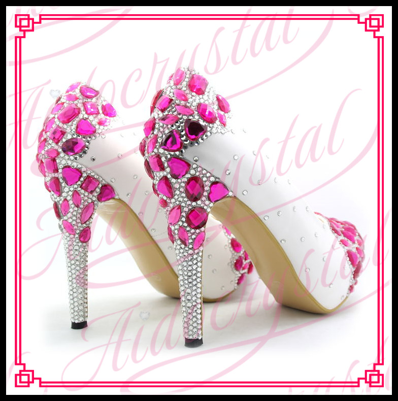 Aidocrystal 2017 new bridal shoes size 43 white high heels for women  fuchsia diamond decor wedding shoes bridesmaid shoes-in Women s Pumps from  Shoes on ... 87950e15004d