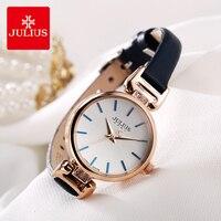 Julius Brand Retro Leather Watch Woman Simple Small Dial Thin Strap Quartz Dress Wrist Watches Female Clock Reloj Mujer Gifts