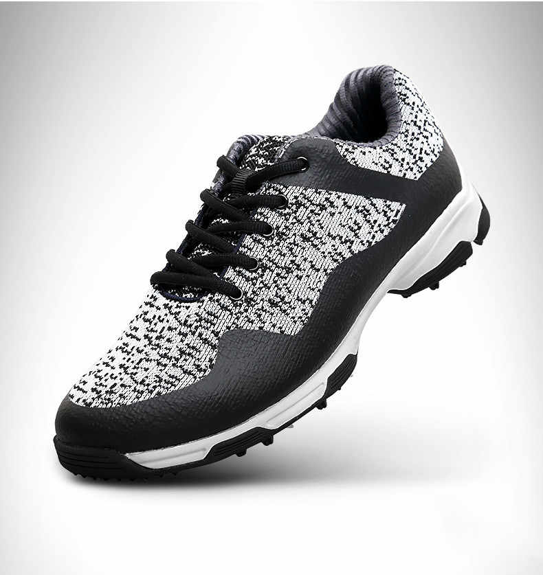 גברים נגד החלקה מסמרים נעלי גולף מיקרופייבר עור אתלטי חיצוני Mens לנשימה עמיד למים ספורט קוצים טוויסט אימון נעליים