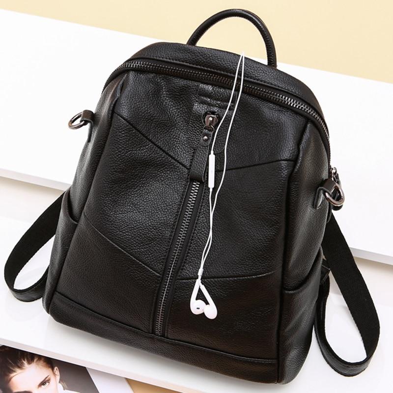 Natural Cowhide Rucksack Travel Bag Knapsack Sling Shoulder Bags Female Fashion School Daypack Genuine Leather Women Backpack