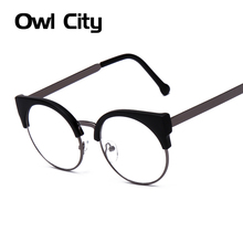 Fashion Women Brand Designer Cat's Eye Glasses Half  Frame Cat Eye Glasses Women Eyeglasses Frames High quality Grau F15010