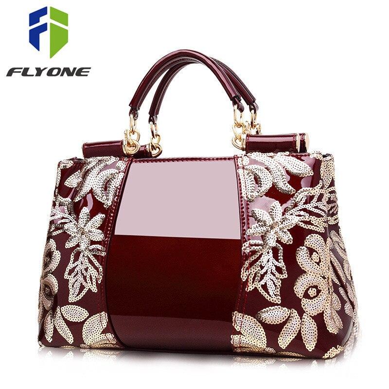 Flyone femmes sacs Haut de gamme compteurs véritable cuir verni en cuir sacs à main de femmes sacs à main sacs à bandoulière de luxe célèbre marque