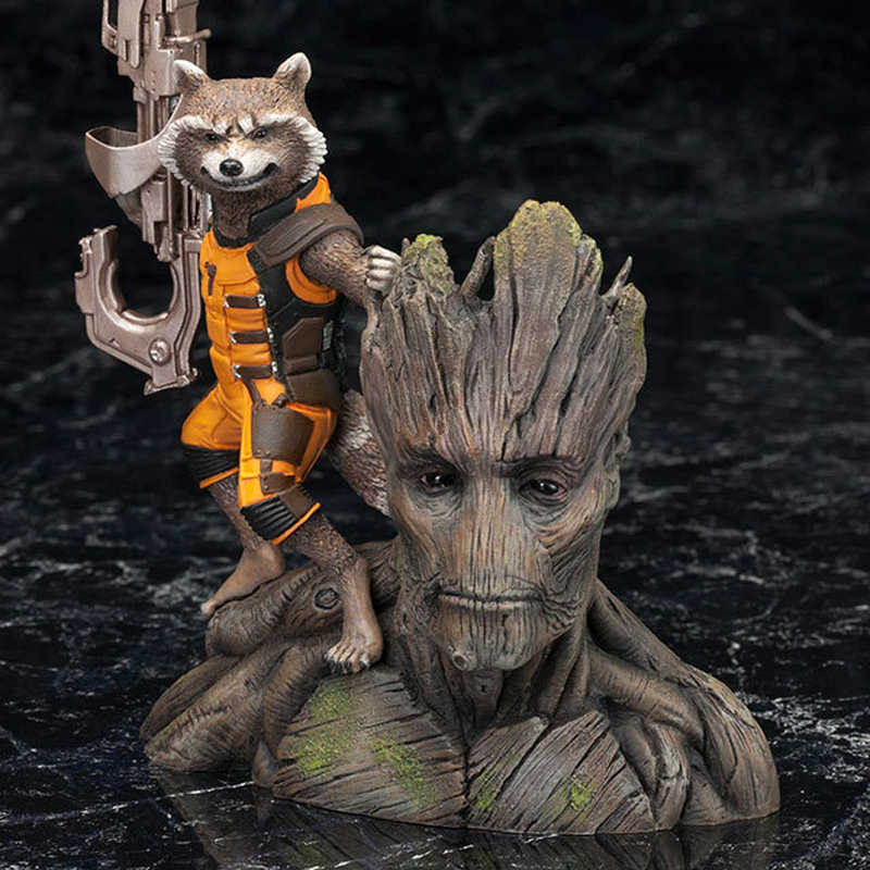 ARTFX Homem Árvore Rocket Raccoon PVC Action Figure Toy Modelo 13cm