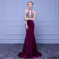 Long Evening Dresses 2018 With Beautiful Beads Sexy Halter Club Party Dresses Sleeveless Floor Length Mermaid dresses WD009