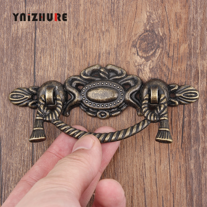 115*47mm 1PCS Retro Alloy Kitchen Drawer Cabinet Door Handle Furniture Knobs Hardware Cupboard Antique Pull Handles,Bronze Tone home metal dresser drawer cabinet cupboard door ring pull handle black silver tone light yellow bronze tone 4 pcs