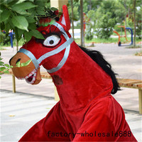 Advertising Carnival Red Horse Mascot Costume Suits Outfits Animals Cosplay Party Game Dress Adults Halloween Holiday New