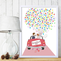 Wedding Car Free Custom Name Date Canvas Print Fingerprints Guestbook Personalized DIY Guest Book For Engagement